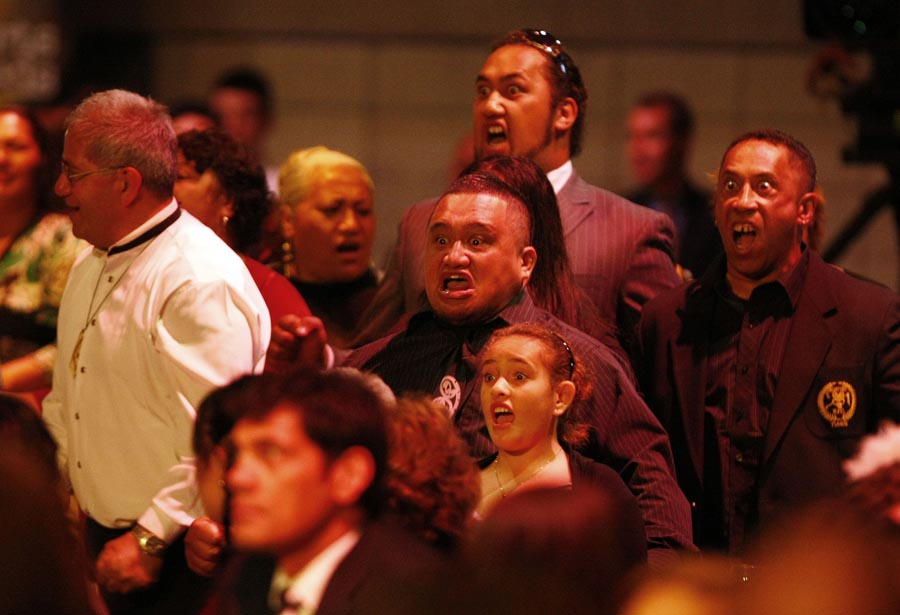 Member of the audience perform a haka to honour the Albie Pryor Memorial Maori Sports Person of the Year Award winner Benji Marshall (rugby league). Trillian Trust Maori Sports Awards, Manukau Events Centre, Auckland. Saturday 5 December 2009. Photo: Simon Watts/PHOTOSPORT