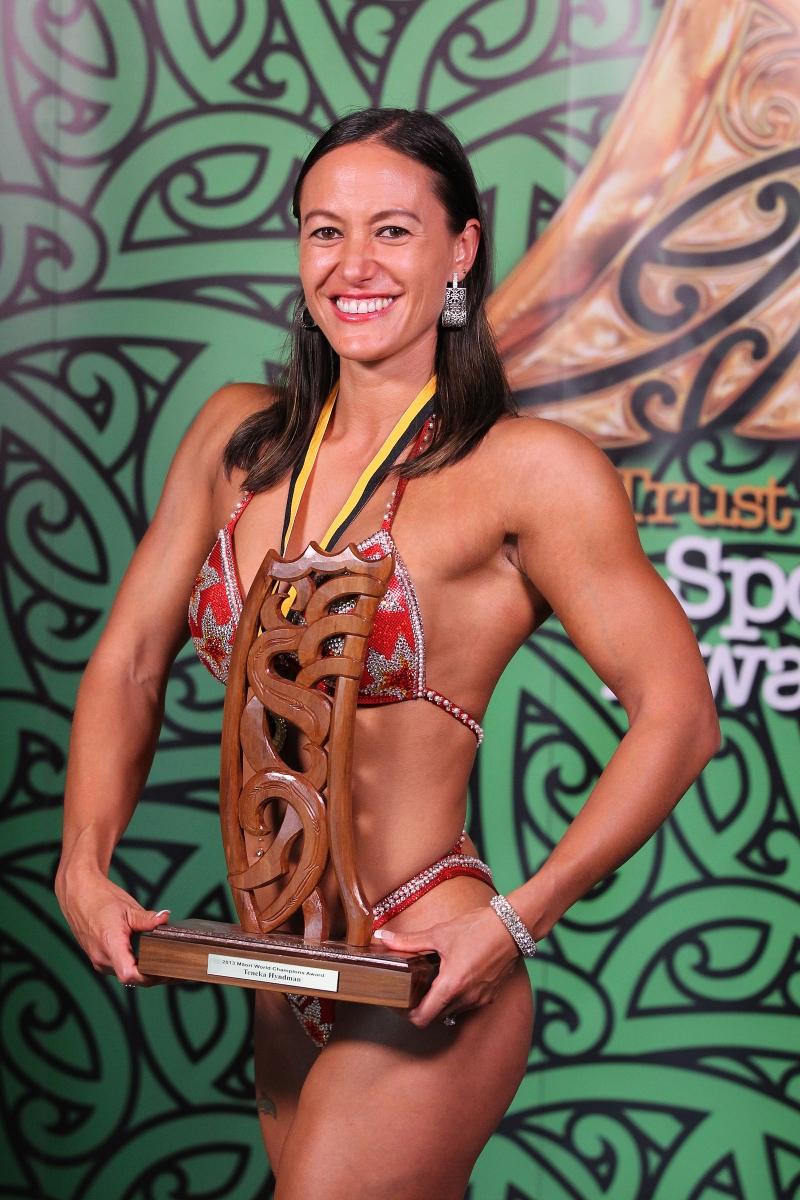 2013 Individual Maori World Champion pro figure bodybuilder Teneka Hyndman at the Trillian Trust Maori Sports Awards at Vodafone Events Centre, Manukau. Photo: Fiona Goodall/photosport.co.nz