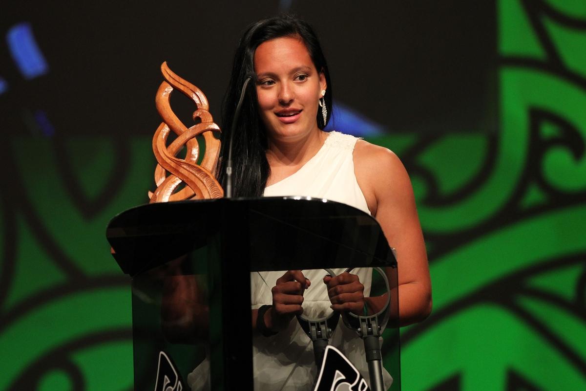 2013 New Zealand sevens and touch representative Tyla Nathan-Wong wins the Junior Maori Sportswoman of the Year award at the Trillian Trust Maori Sports Awards at Vodafone Events Centre, Manukau. Photo: Fiona Goodall/photosport.co.nz