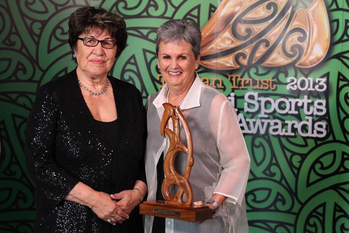 2013  Kahurangi Te Koingo Reedy presents the Maori Sports Administrator award to Raelene Castle for netball and rugby league. Her mother Marlene accepts the award at the Trillian Trust Maori Sports Awards at Vodafone Events Centre, Manukau. Photo: Fiona Goodall/photosport.co.nz