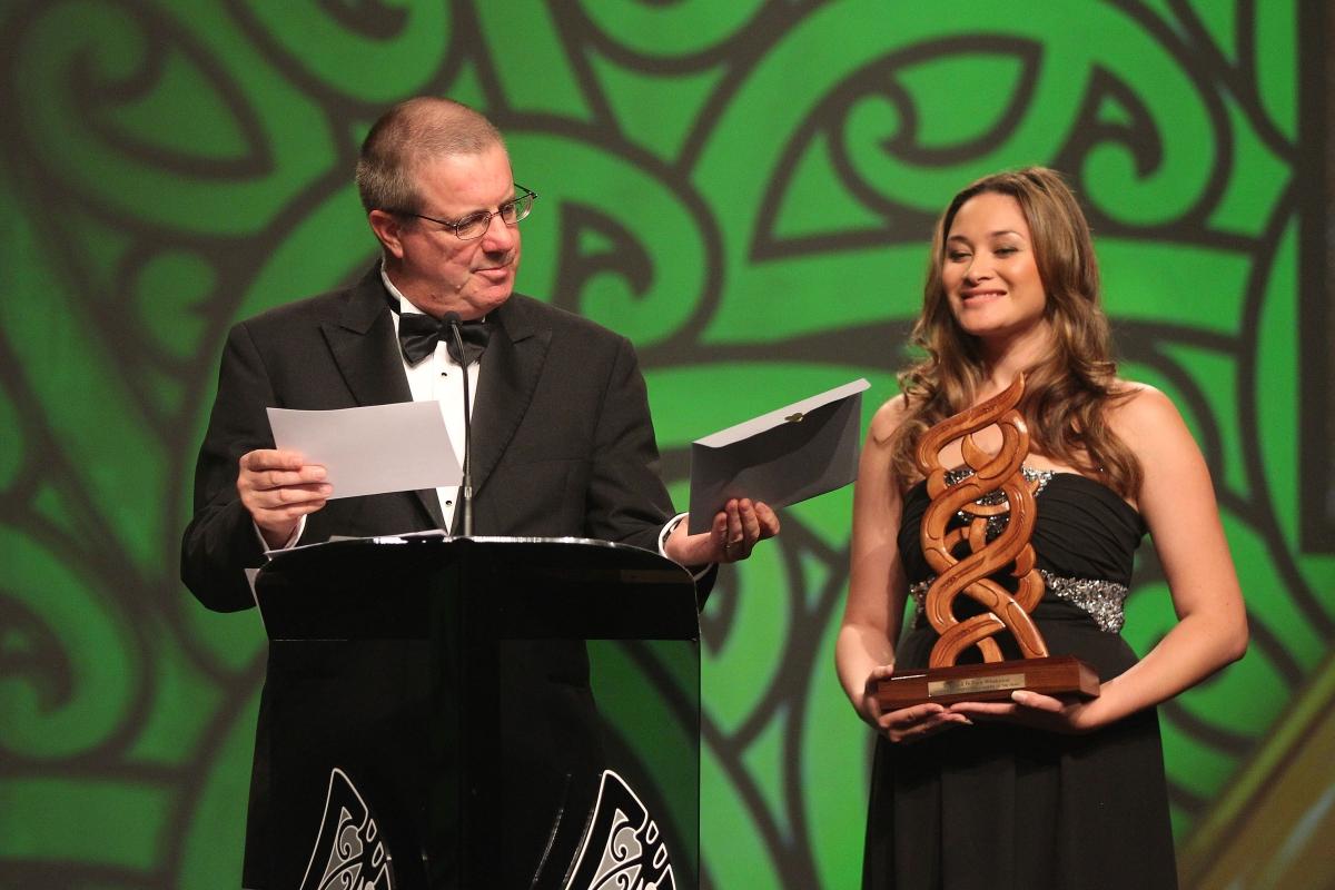 2013  Maisey Rika holds the award for best Moari sports media at the Trillian Trust Maori Sports Awards at Vodafone Events Centre, Manukau. Photo: Fiona Goodall/photosport.co.nz