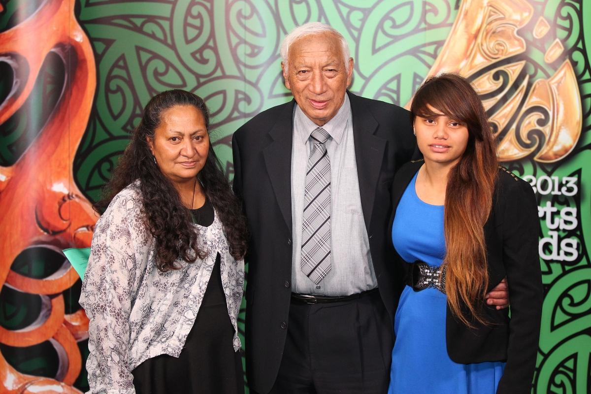 2013  Kukupa Tirikatene of MIT presents the Moari Sports awards scholarships to Waikohika Flesher, and Corey Tawhi's mum Jesse, left at the Trillian Trust Maori Sports Awards at Vodafone Events Centre, Manukau. Photo: Fiona Goodall/photosport.co.nz