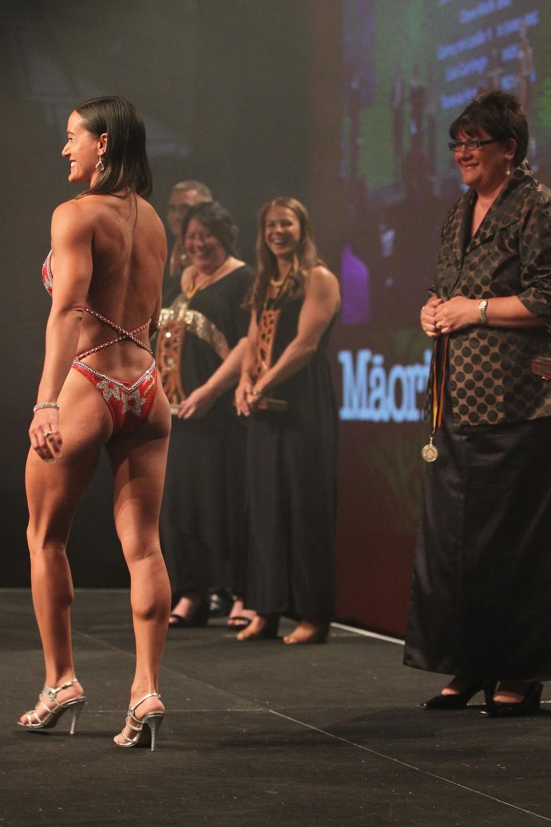2013  Michelle Hippolite, right presents the individual Maori world champion awards to Teneka Hyndman for pro figure body building  at the Trillian Trust Maori Sports Awards at Vodafone Events Centre, Manukau. Photo: Fiona Goodall/photosport.co.nz
