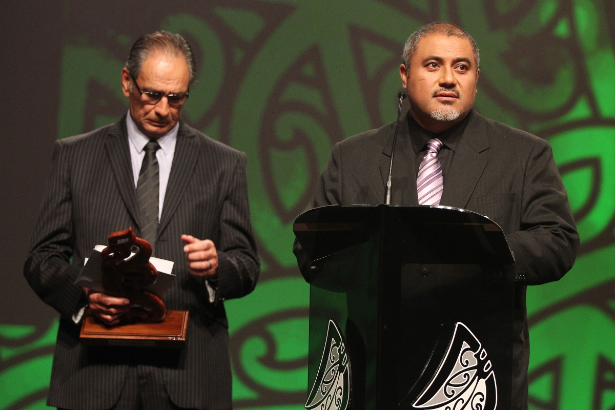 2013  Dean Agnew and Kevin Pryor present the Maori Sportsperson of the Yea Award at the Trillian Trust Maori Sports Awards at Vodafone Events Centre, Manukau. Photo: Fiona Goodall/photosport.co.nz