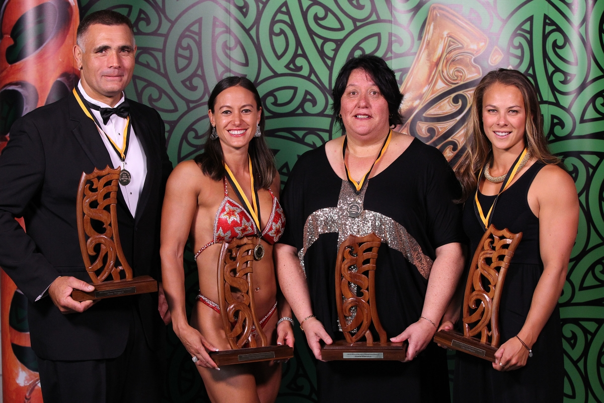2013 Individual Maori World Champions from left wood chopper Jason Wynyard, pro figure bodybuilder Teneka Hyndman, powerlifter Sonia Manaena and canoeist Lisa Carrington at the Trillian Trust Maori Sports Awards at Vodafone Events Centre, Manukau. Photo: Fiona Goodall/photosport.co.nz